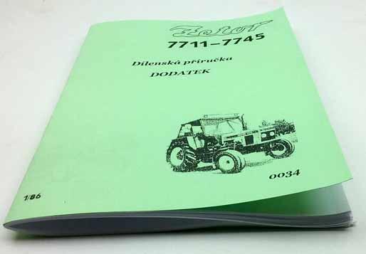 Zetor 7711 7745 Dilenska Prirucka Dodatek Z Roku 1986 Reprint