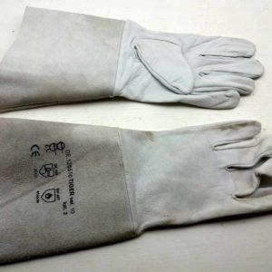 Rukavice s návleky kožené TIGER, vel: 10