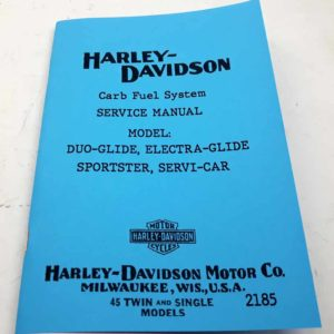 Harley Davidson Service Car Carb Fuel System Service Manual 1959 to 1969. reprint.