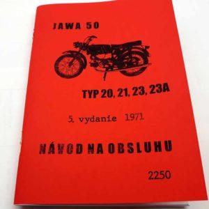 Jawa 50 typ 20, 21, 23, 23A Návod k obsluze a údržbě 5 vydání z roku 1971. reprint