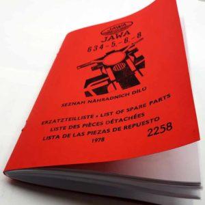 Jawa 350 typ 634-5, 6, 8 Seznam náhradních dílů reprint.