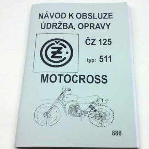 Motocross ČZ125 typ 511, – návod k obsluze, údržba a opravy reprint – Dílenská příručka