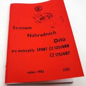 ČZ 125/488, ČZ175/487 Seznam náhradních dílů, reprint.