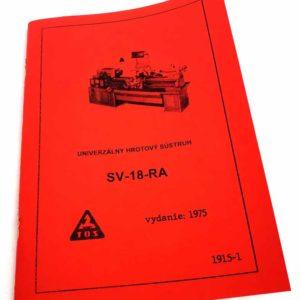 TOS SV 18 RA Soustruh – technická dokumentace ve slovenštině reprint