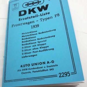 DKW Frontwagen Typen F8 – 1939 – Katalog náhradních dílů v němčině reprint