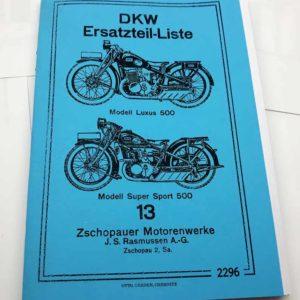DKW Modell Luxus 500, Super Sport 500 Katalog náhradních dílů německy reprint