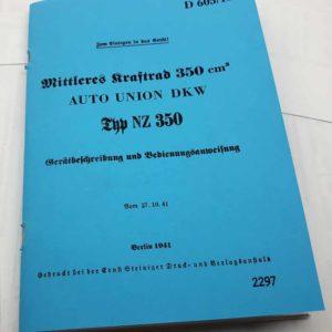 DKW NZ 350  Popis a návod k obsluze a údržbě německy reprint.