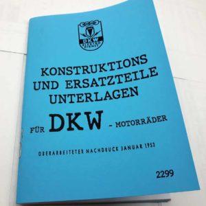 DKW motocykly konstrukční dokumenty. Německy reprint.
