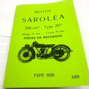 Sarolea Motos 350cm3 – type 25N -Pieces De Rechange reprint