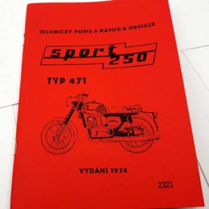 ČZ sport 250-typ 471, – návod k obsluze,1974 reprint