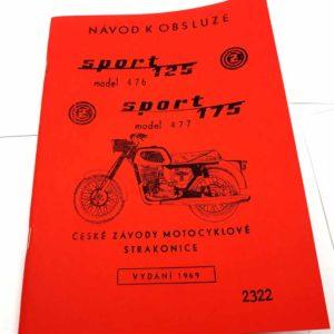 ČZ 125 476/01 Sport a CŽ 175 477/01 sport Návod k obsluze a údržbě 1968-69 reprint