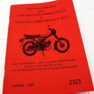 Simson S51/1 a S70/1 – Udržovací příručka. vydání 1987 reprint