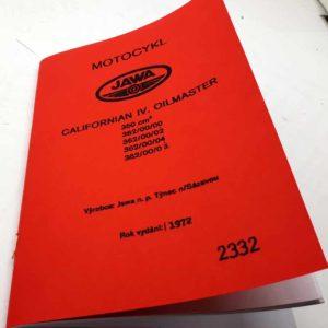 Jawa 350 Californian lV. Oilmaster Katalog dílů 1972 reprint.