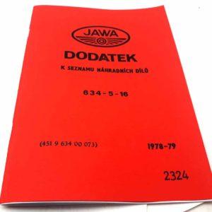 Jawa 350 / 634-5-16 – Dodatek k seznamu náhradních dílů.